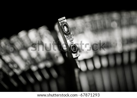 Old text typing typewriter letter typebar isolated - stock photo