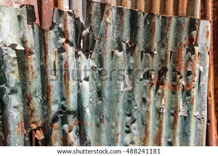 Old Texture and rusty zinc house fence background