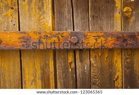 old texture metal loop on the wooden door - stock photo