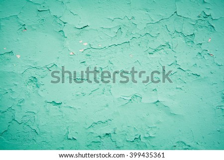 Old texture turquoise blue wall, the old paint texture  is chipping and cracked fall destruction. Grunge texture for design - stock photo