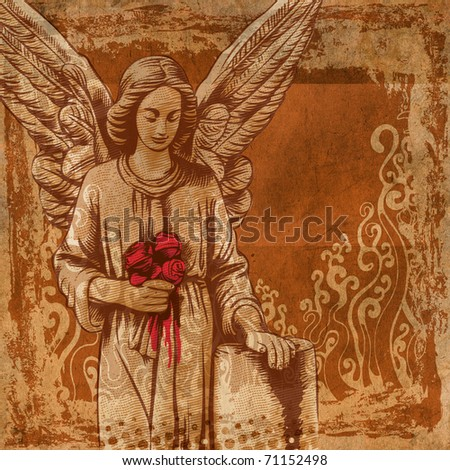 old textured art background with a grieving angel. - stock photo