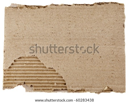 old textured cardboard sheet with torn edges isolated over white - stock photo