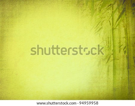 Old textured paper background with green bamboo. Asian design for zen culture tradition. - stock photo