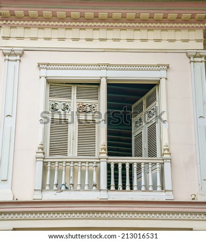 Old 19th century balcony, at a National Park in Guayaquil, Ecuador - stock photo