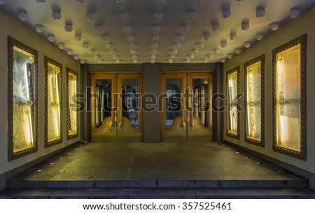 Old theater entrance - stock photo