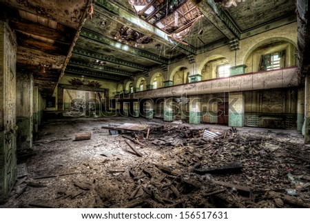 old theater in destroyed russian barracks in former eastern germany - stock photo