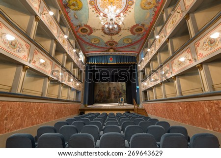 Old Theater interiors view. Ripatransone, Marche region, Italy.