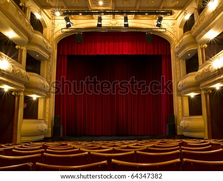 old theater stage and red curtain - stock photo