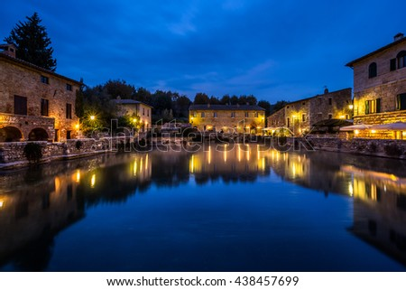 old thermal baths in the medieval village bagno vignoni tuscany italy spa basin