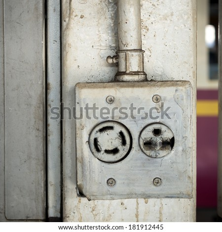Old three-pin electrical socket