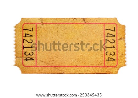 Old Ticket : Torn Blank Orange Movie Or Raffle Ticket Isolated On White.  Blank Ticket