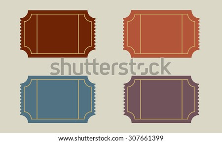 Old ticket with copy space set.  - stock photo