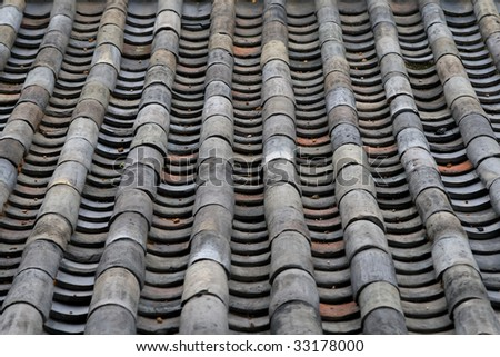 Old Tile Roof of Traditional Korean Architecture in Deoksugung Palace, Seould, South Korea
