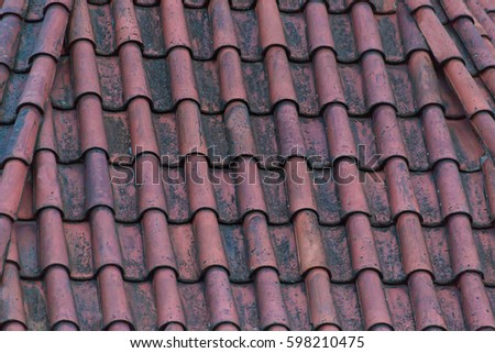Old Tile Roof Terracotta Red Color On House Background Base Of Natural Stone