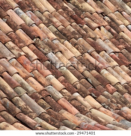 Old tiled roof texture. #1 - stock photo