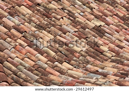 Old tiled roof texture. #2 - stock photo
