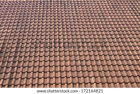 old tiles roof pattern background - stock photo