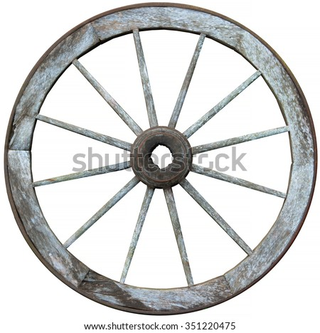 Old timber and steel antique wagon wheel with 12 ( twelve ) wooden spokes and a steel band - stock photo
