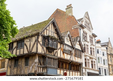 Old timber framed house on a street corner. Oxford, Oxfordshire, England, United Kingdom, Europe - stock photo