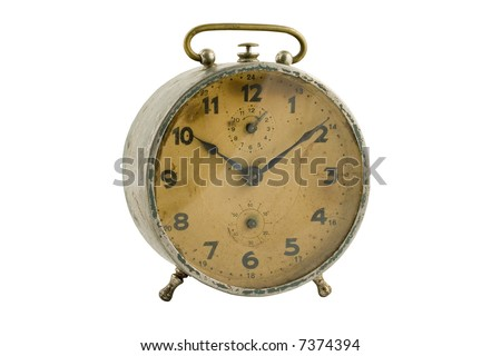 Old-time alarm clock (With Clipping Path) - stock photo
