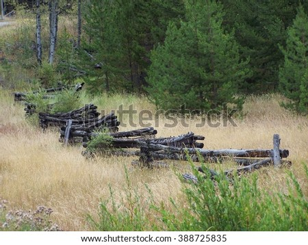 Old time farm fence scenic - stock photo