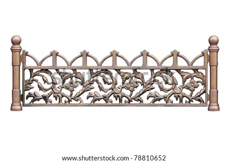 Old-time forged decorative  fence. Isolated over white background. - stock photo