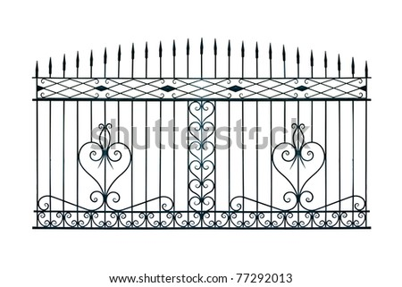 Old-time forged decorative gates. Isolated over white background. - stock photo