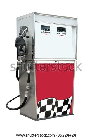 Old time gas pump for leaded and unleaded gasoline or petrol. Isolated on white with clipping path - stock photo