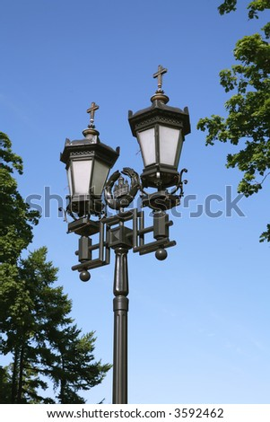Old-time Moscow Street Lamp, Cast-iron Lighting Device