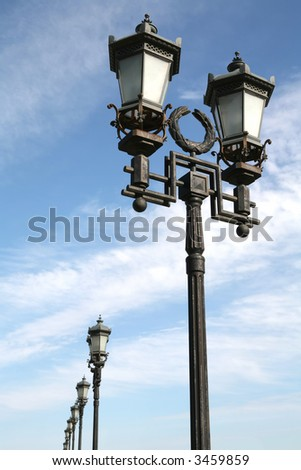 Old-time Moscow Street Lamps, Cast-iron Lighting Devices