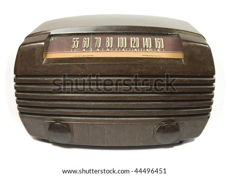 old time radio on isolated background - stock photo