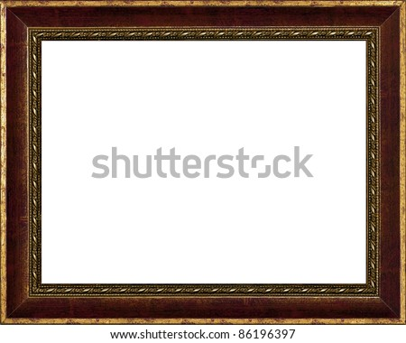 old time vintage golden rustic high quality frame isolated over white - stock photo