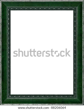 old time vintage silver and green rustic high quality frame isolated over white - stock photo