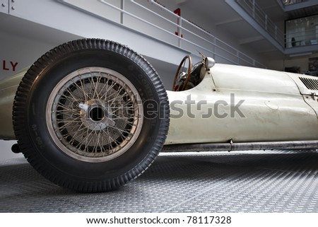 old timer automobile, detail view - stock photo