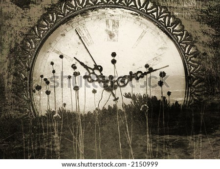 Old times - Antique clock face with abstract, organic foreground. - stock photo
