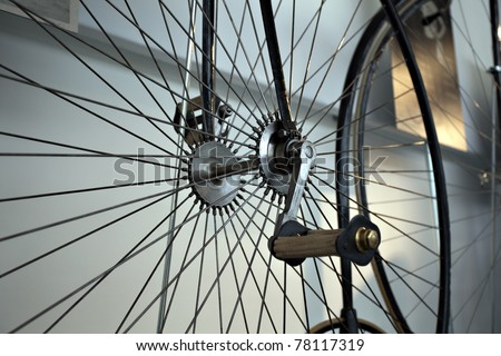 Old times bicycle detail view - stock photo