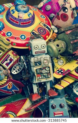 old tin toys macro image - stock photo