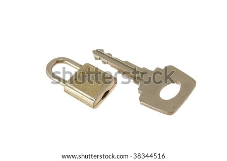 old tiny hinged lock for a mail box with a key