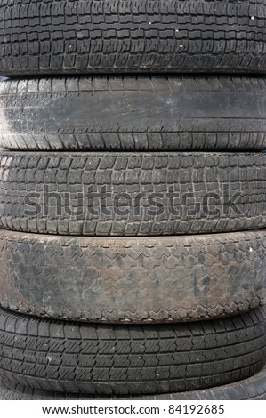 Old tire covers - stock photo