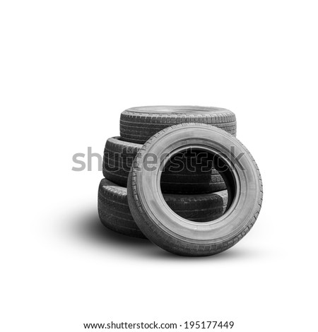 Old tire isolated on white background - stock photo