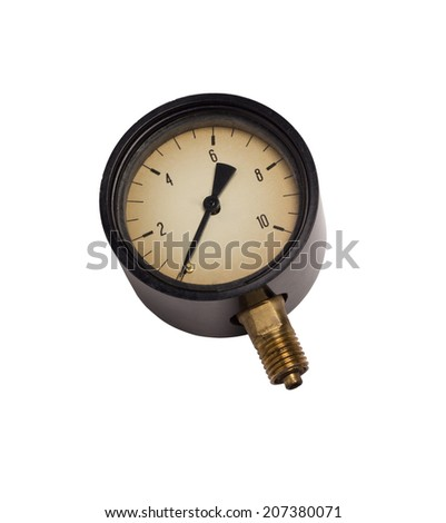 Old tire pressure gauge car, motorcycle or bicycle on white background - stock photo