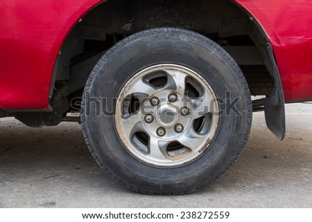 Old tires put the car - stock photo
