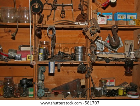 Old Tools on Shelves