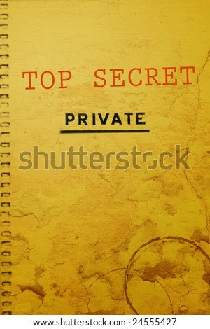 "Old top secret document marked ""Private"" - stock photo"