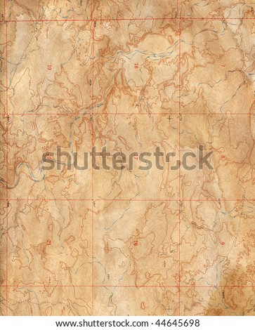 Old Topographical Map (Expedition background ) - stock photo