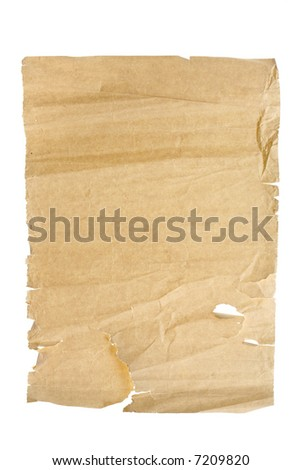 Old, torn and wrinkled paper, suitable for background. Isolated on white