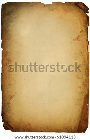 old torn grunge paper sheet isolated on white - stock photo