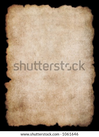 Old torn list of parchment, antique background texture of a page from an ancient book