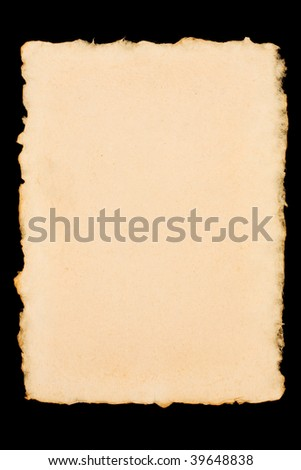 Old torn paper isolated on a black background - stock photo