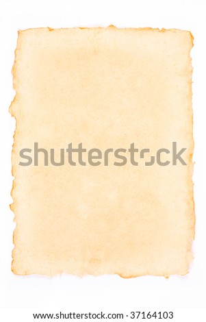 Old torn paper isolated on a white background - stock photo
